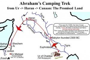 Тази карта показва пътешествието на Авраам